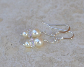 Pearl Earrings - Simply Stated - Bridal Jewelry - Swarovski Pearls, Crystals and Sterling Silver - Whisper by SplendorVendor