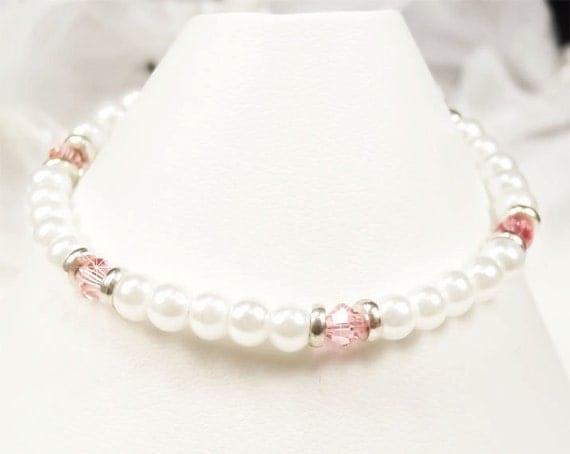 Flower Girl Bracelet, White Pearl, Vintage Pink Swarovski Crystals and Silver Flower Girl Bracelet, Little Girl Wedding Jewelry (WFG0081)
