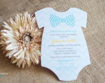 Bow Tie Onesie Die Cut Baby Shower Invitation - Customizable - Set of 20