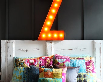 """SALE - Light Up Letter Z - RUSTY - 36"""" Vintage Marquee Lights-The Original!"""