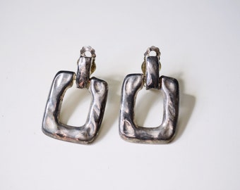 1970s Hammered Metal Clip on Earrings