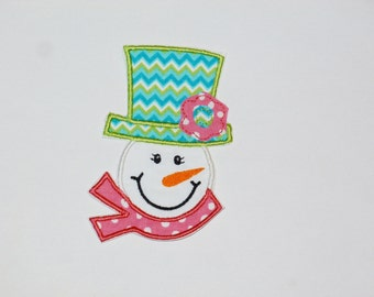 "Embroidered Iron On Applique  ""Girl Frosty"""
