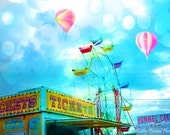 Carnival Fair Photography, Ticket Booth Stand, Hot Air Balloons, Carnival Prints, Carnival Wall Art, Hot Air Balloons, Carnival Ticket Booth