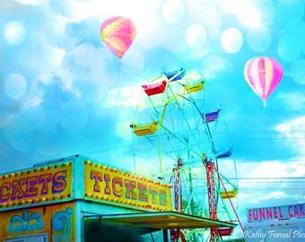 Carnival Photography, Hot Air Balloons, Carnival Prints, Carnival Wall Art, Kid's Room Wall Decor, Carnival Ticket Booth Print, Nursery Art