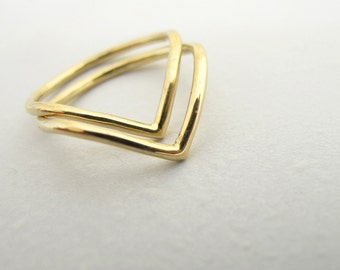 18k Pair of Points Rings - Two 18 Karat Yellow Gold Chevron Peak and Valley Minimalist Triangle Stacking Rings