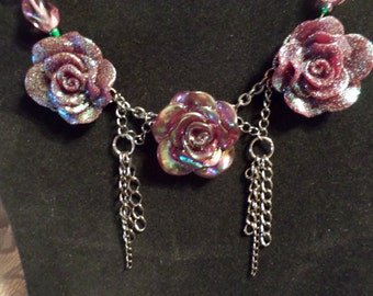 Triple Iridescent Rose Necklace   FREE SHIPPING