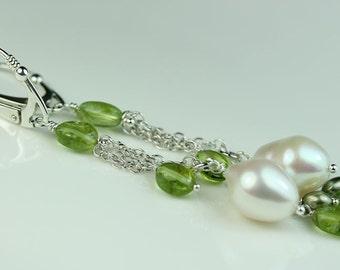 Peridot with pearl earrings, Sterling Silver Lever Back ear wires, long chain dangle earrings, gift idea for her, art4ear, women's jewelry