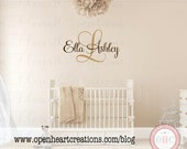 Monogram & Name Vinyl Wall Decal for Girl or Boy Nursery or Bedroom – Fancy Script Font -- 5 Sizes Available – 33 Colors IN0012