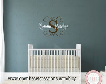 Initial and Name Wall Decal with Swirl Accents - Nursery Girl Vinyl Wall Decal Monogram 22H x 32W FN0565