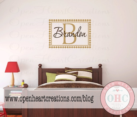 """Boys Name and Initial Wall Decal - Rectangle Solid Border with Polka Dot Frame Girl Boy Baby Nursery 22""""H x 32""""W FN0161"""