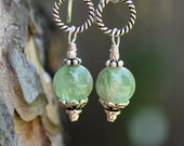 Green Kyanite Genuine Gemstone Dangle Drop Earrings with Sterling Silver