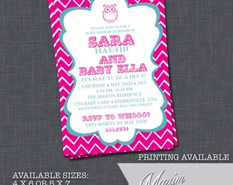 DIY Printable Invitation - Owl Baby Shower Invitation, Chevron Baby Shower, Party Invitation....by Maxim Creative Invites