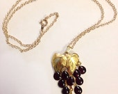 Vintage Dangle Grapes Necklace Deadstock