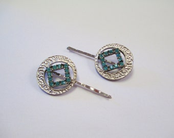 Vintage 60's Rhinestone Bobby Pins SET of 2 DEADSTOCK