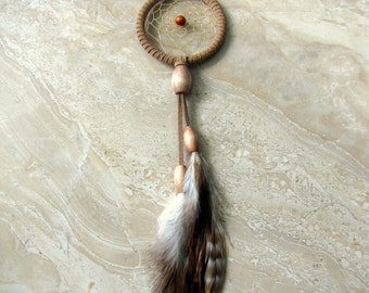 Dream Catcher - Beige Suede and Feather Car Dream Catcher, Dreamcatcher