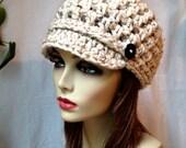 SALE Crochet Womens Hat, Newsboy, Oatmeal, Very Soft Chunky Wool, Short Brim Buttons Warm Teens Winter Ski Hat, JE808N8