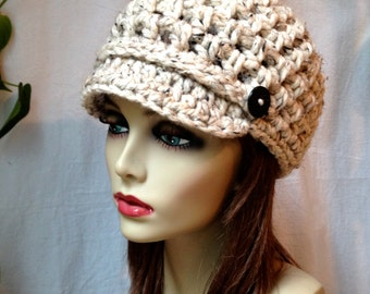 SALE Crochet Womens Hat, Newsboy, Oatmeal, Very Soft Chunky Wool, Short Brim Buttons Warm Teens Winter Ski Hat, JE808N8