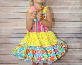 "SALE - Fun & Festive ""Flowers and Stripes"" Twirl Sundress for Girls - Colorful - Easter - Spring - Sleeveless - Birthday - Party - Ruffles"