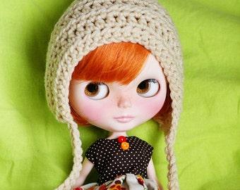 Gnome Helmet for Blythe - Crochet Pixie Hat -  Cream