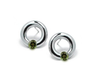 Peridot Stud Post Tension Set Circle Earrings in Steel Stainless