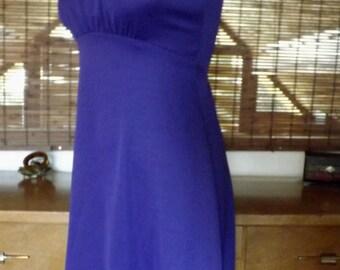 Vintage 60s Jeweled Purple High neck Empire waist Mod Maxi Dress S - M