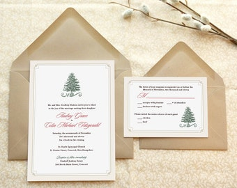 Evergreen Christmas Wedding Invitations - Winter Wedding - Holiday Wedding - Festive Wedding