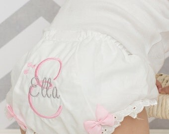 Pink & Grey Bloomers...Pink and Grey embroidered bloomers....Birthday Bloomers...Personalized Bloomers...Custom Bloomers...Girls Bloomers