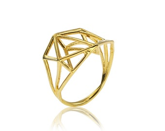 Geometric Gold Ring, Engagement Gold Ring, 18K Designer Gold Ring, Geometric Jewelry, Fast Free Shipping
