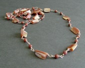 "Long Pink Necklace, Shell and Gemstones, Rhodonite, Rose Tone Metal, 32 Inch Long Clasp Free Necklace, ""Endless"""