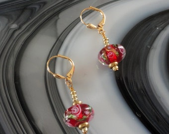 Pink Roses Red Lampwork Glass Wire Wrapped Pierced Earrings