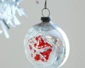 Christmas Photograph, Vintage Red Star Silver Ornament Photo, Digital Download, Printable Art, Do It Yourself Art, Seasonal Photography