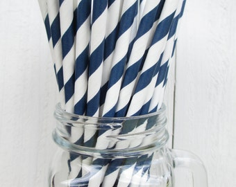 25  Navy Blue and White Striped Paper Straws