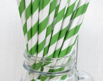 250 Kelly Green and White Striped Paper Straws Wedding Shower Party