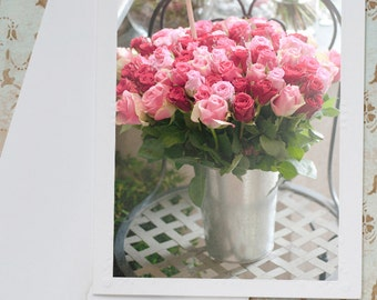 Paris Photo Notecard - Roses in a Paris Flower Shop, Travel Photo Note Card, Stationery