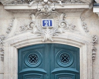 Paris Photography - Teal Door, Paris Decor, Architectural Home Decor, French Wall Decor, Large Wall Art