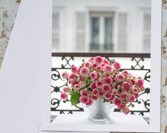 Paris Roses Photo Notecard - Pink Roses on a Paris Balcony, French Roses Notecard, Stationery, Blank Notecard