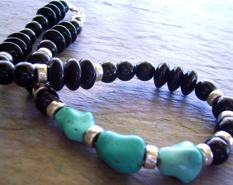 Jet Black Onyx & Turquoise Necklace with Sterling Silver, Antique Tibetan Turquoise Nuggets with Onyx - Cool Blue Summer
