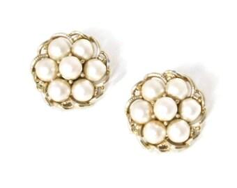 Vintage Coro Earrings Jewelry Fashion Clip On Faux Pearl Goldtone Dressy Wedding Jewelry Costume Jewelry Earrings