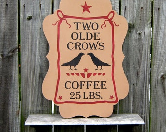 Coffee Sign, Old Advertising Sign, Kitchen Decor, Dining Room Sign, Wood Plaque, Crows, Black Birds, Primitive Decor, Coffee, Red, Black