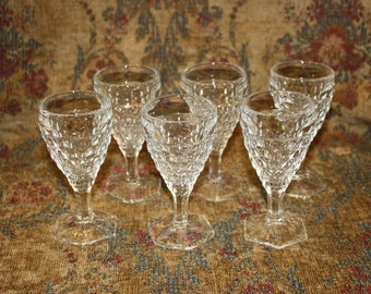 American Fostoria Set of Six  2 1/2 Ounce Wine Goblets