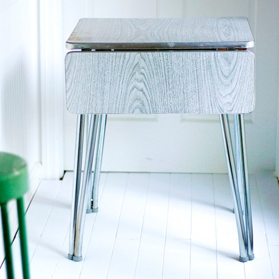 Grey Faux Bois Drop Leaf Formica And Chrome Table By