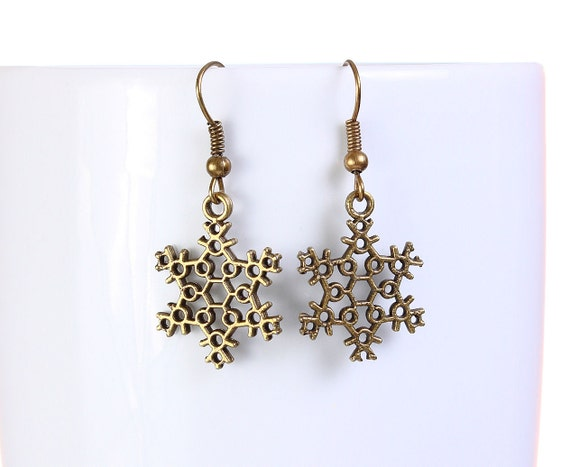 Sale Clearance 20% OFF - Antique brass snowflake drop dangle earrings (764)