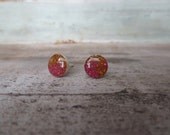 Pink Orange Ombre Sterling Silver Studs