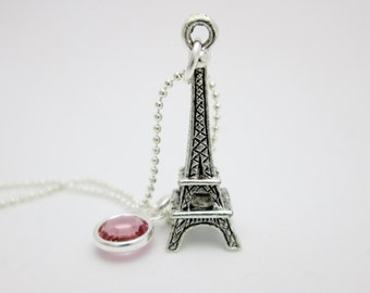 Eiffel Tower Necklace, Paris Eiffel Tower Charm Necklace in Antique Silver Finish with Pink Crystal Accent A048