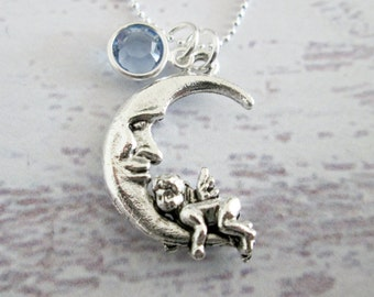 Crescent Moon Necklace, Silver Moon with Angel Cherub Charm Necklace, Moon Face with Blue Crystal Accent A058