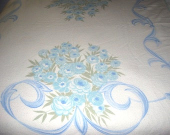 White and Blue Blanket, QUEEN lovely floral design, wool
