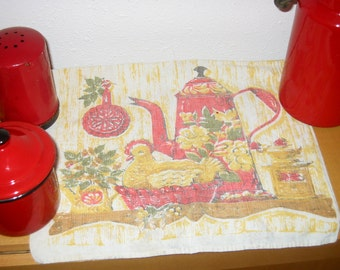 Red Coffeepot and Chicken linen tea towel, 15 x26