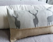 hand printed dove grey triple charcoal stag cushion cover