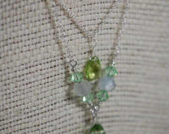 Peridot, Swarvoski crystal & natural Aquamarine necklace. March birthstone, August birthstone, Sterling silver, wire wrapped, handmade.