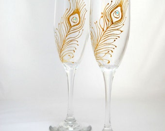 Anniversary Toasting Flutes Gold Peacock Feather Champagne Flutes Hand Painted Wedding Glassware ~ Pair